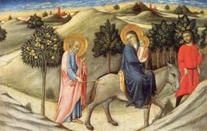 Famous paintings of The Holy Family: The Flight into Egypt  1450-55