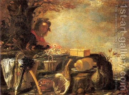 Young Man with a Picnic by Giovanni Pini - Reproduction Oil Painting