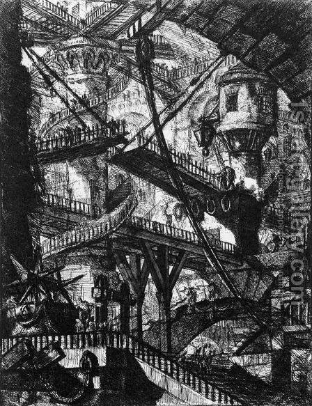 Carceri d'Invenzione- plate VII (first edition) by Giovanni Battista Piranesi - Reproduction Oil Painting