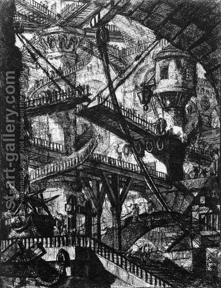 The Prisons (plate VII) c. 1760 by Giovanni Battista Piranesi - Reproduction Oil Painting