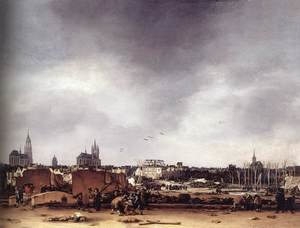 Famous paintings of Villages: View of Delft after the Explosion of 1654, 1654