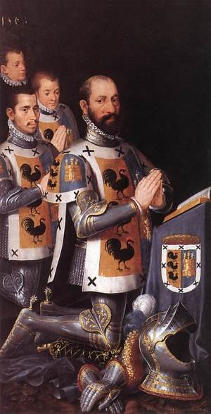 Famous paintings of Men: Portrait of Jan Lopez Gallo and His Three Sons 1568
