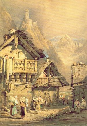 Famous paintings of Villages: Alpine Village 1824