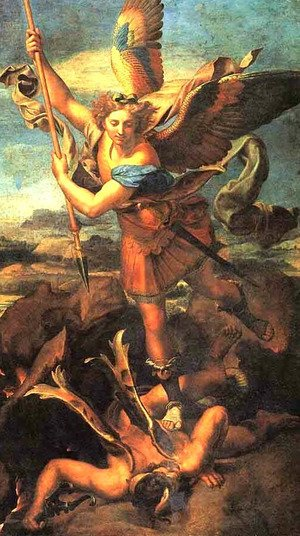 Famous paintings of Fantasy, Mythology, Sci-Fi: Saint Michael Trampling the Dragon 1518