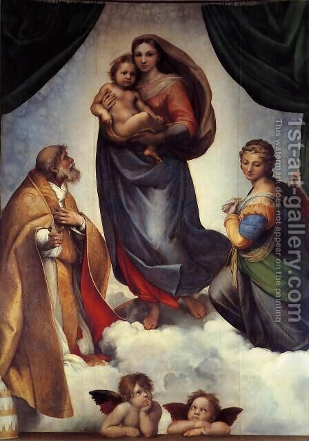 The Sistine Madonna 1513-14 by Raphael - Reproduction Oil Painting