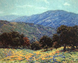 Famous paintings of Mountains and Cliffs: Flowers Under the Oaks