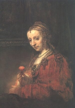 Reproduction oil paintings - Rembrandt - Lady with a Pink