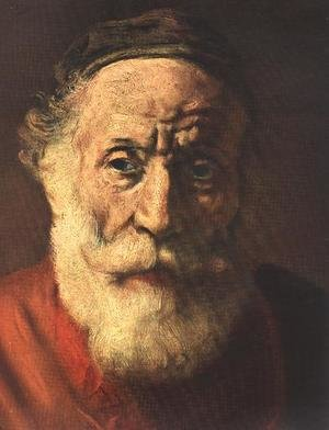 Famous paintings of Men: Portrait of an Old Man in Red (detail -1) 1652-54
