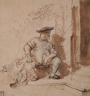 Reproduction oil paintings - Rembrandt - Seated Man Wearing a Flat Cap