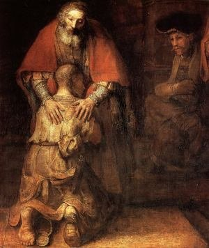 Reproduction oil paintings - Rembrandt - The Return of the Prodigal Son (detail -1) c. 1669