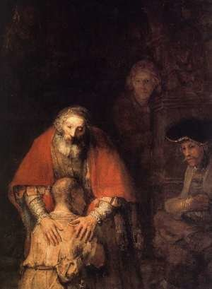 Reproduction oil paintings - Rembrandt - The Return of the Prodigal Son (detail -5) c. 1669