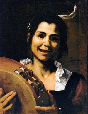 Reproduction oil paintings - Jusepe de Ribera - Girl with a Tambourine (Allegory of Hearing) 1637