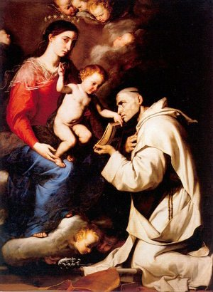 Reproduction oil paintings - Jusepe de Ribera - The Madonna with the Christ Child & Saint Bruno 1624