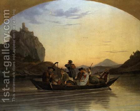 Crossing the Elbe at Aussig 1837 by Adrian Ludwig Richter - Reproduction Oil Painting