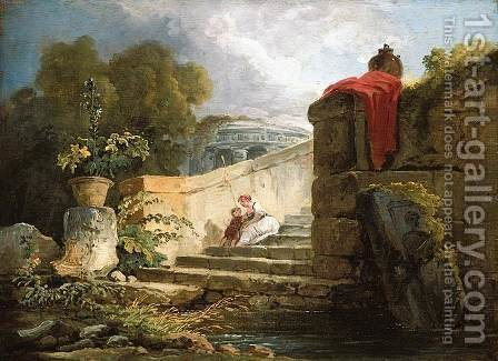 A Scene in the Grounds of the Villa Farnese, Rome c. 1765 by Hubert Robert - Reproduction Oil Painting