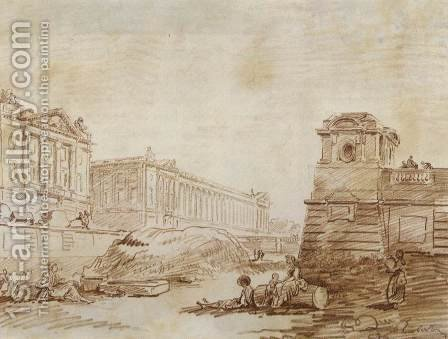 Ditch at Place de la Concorde by Hubert Robert - Reproduction Oil Painting