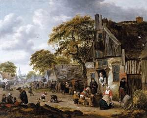 Famous paintings of Villages: A Village Street Scene