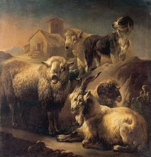 Famous paintings of Goats: A Goat, Sheep and a Dog Resting in a Landscape