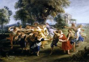 Reproduction oil paintings - Rubens - Dance of Italian Villagers c. 1636