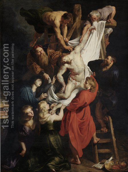 Descent from the Cross (centre panel) 1612-14 by Rubens - Reproduction Oil Painting