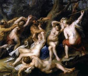 Reproduction oil paintings - Rubens - Diana and her Nymphs Surprised by the Fauns (detail-2) 1638-40