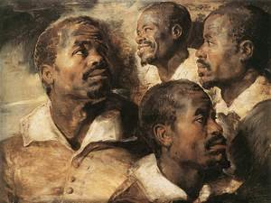 Famous paintings of Men: Four Studies of the Head of a Negro