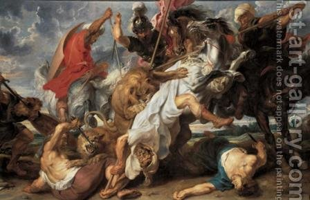 Rubens: Lion Hunt c. 1621 - reproduction oil painting