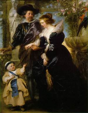 Famous paintings of Men: Rubens, his wife Helena Fourment, and their son Peter Paul c. 1639