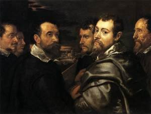 Reproduction oil paintings - Rubens - Self-Portrait in a Circle of Friends from Mantua