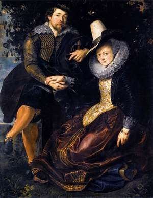 Famous paintings of Couples: The Artist and His First Wife, Isabella Brant, in the Honeysuckle Bower 1609-10
