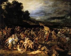Reproduction oil paintings - Rubens - The Battle of the Amazons c. 1600