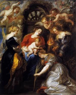 Reproduction oil paintings - Rubens - The Crowning of St Catherine 1631