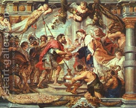 The Meeting of Abraham and Melchizedek 1625 by Rubens - Reproduction Oil Painting