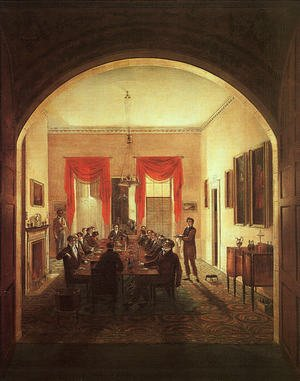 Famous paintings of Furniture: The Dinner Party 1821