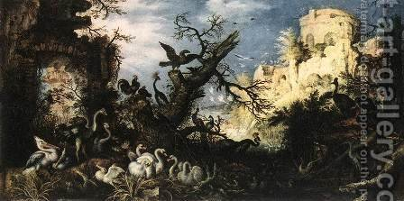 Landscape with Birds 1622 by Roelandt Jacobsz Savery - Reproduction Oil Painting