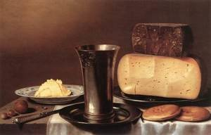Famous paintings of Desserts: Still-life with Glass, Cheese, Butter and Cake