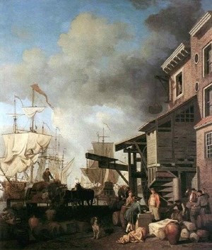 Famous paintings of Ports: A Thames Wharf 1750's