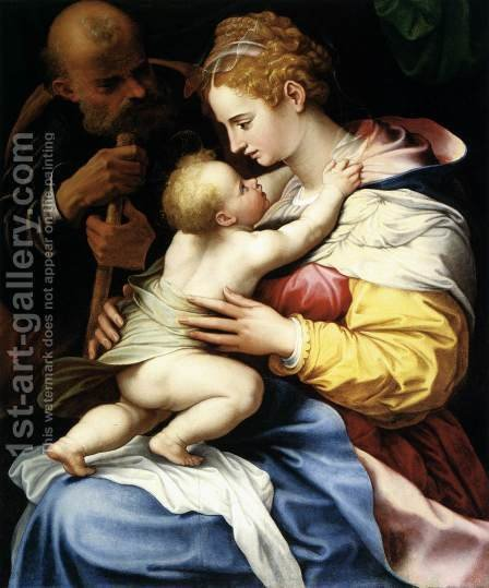 The Holy Family by Girolamo Siciolante Da Sermoneta - Reproduction Oil Painting