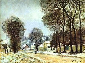 Famous paintings of Villages: Snow at Louveciennes 1874