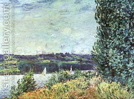 The Banks of the Seine- Wind Blowing 1894 by Alfred Sisley - Reproduction Oil Painting