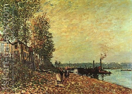 The Tugboat 1883 by Alfred Sisley - Reproduction Oil Painting