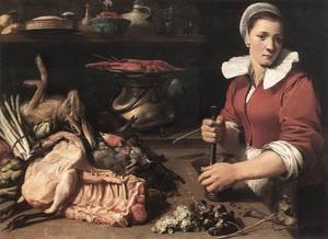 Famous paintings of Meat: Cook with Food 1630s