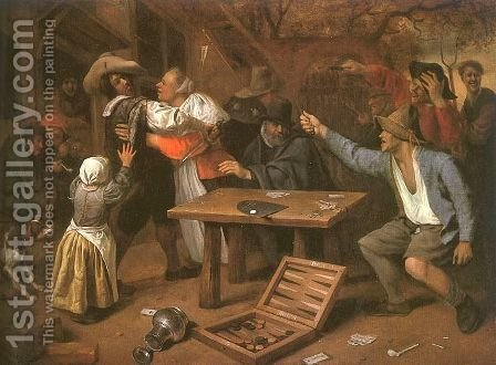 Card Players Quarreling 1664-65 by Jan Steen - Reproduction Oil Painting
