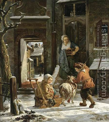 A Winter Scene by Abraham van, I Strij - Reproduction Oil Painting