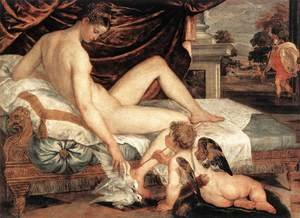 Famous paintings of Nymphs & Satyrs: Venus and Cupid c. 1560