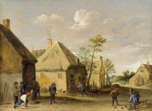 Famous paintings of Other: Peasants Bowling in a Village Street c. 1650