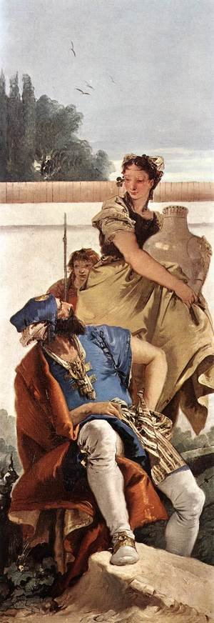 Reproduction oil paintings - Giovanni Battista Tiepolo - A Seated Man and a Girl with a Pitcher c. 1755