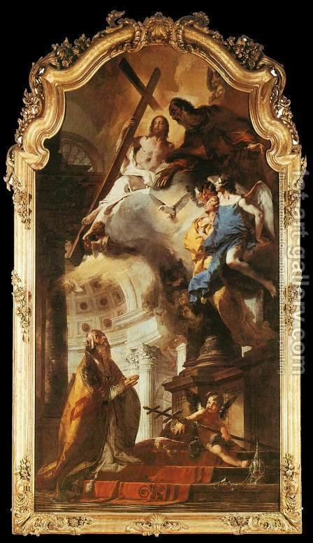 Pope St Clement Adoring the Trinity 1737-38 by Giovanni Battista Tiepolo - Reproduction Oil Painting