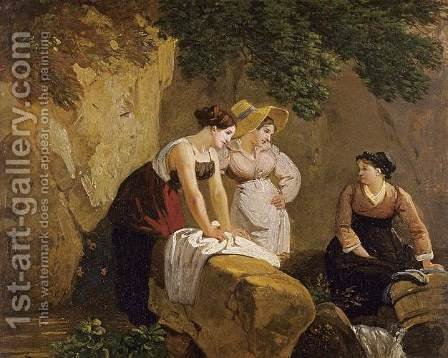 Washerwomen in a Grotto 1825-30 by Adam-Wolfgang Topffer - Reproduction Oil Painting