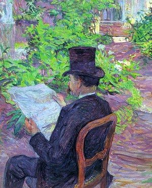 Reproduction oil paintings - Toulouse-Lautrec - Desire Dihau Reading a Newspaper in the Garden 1890